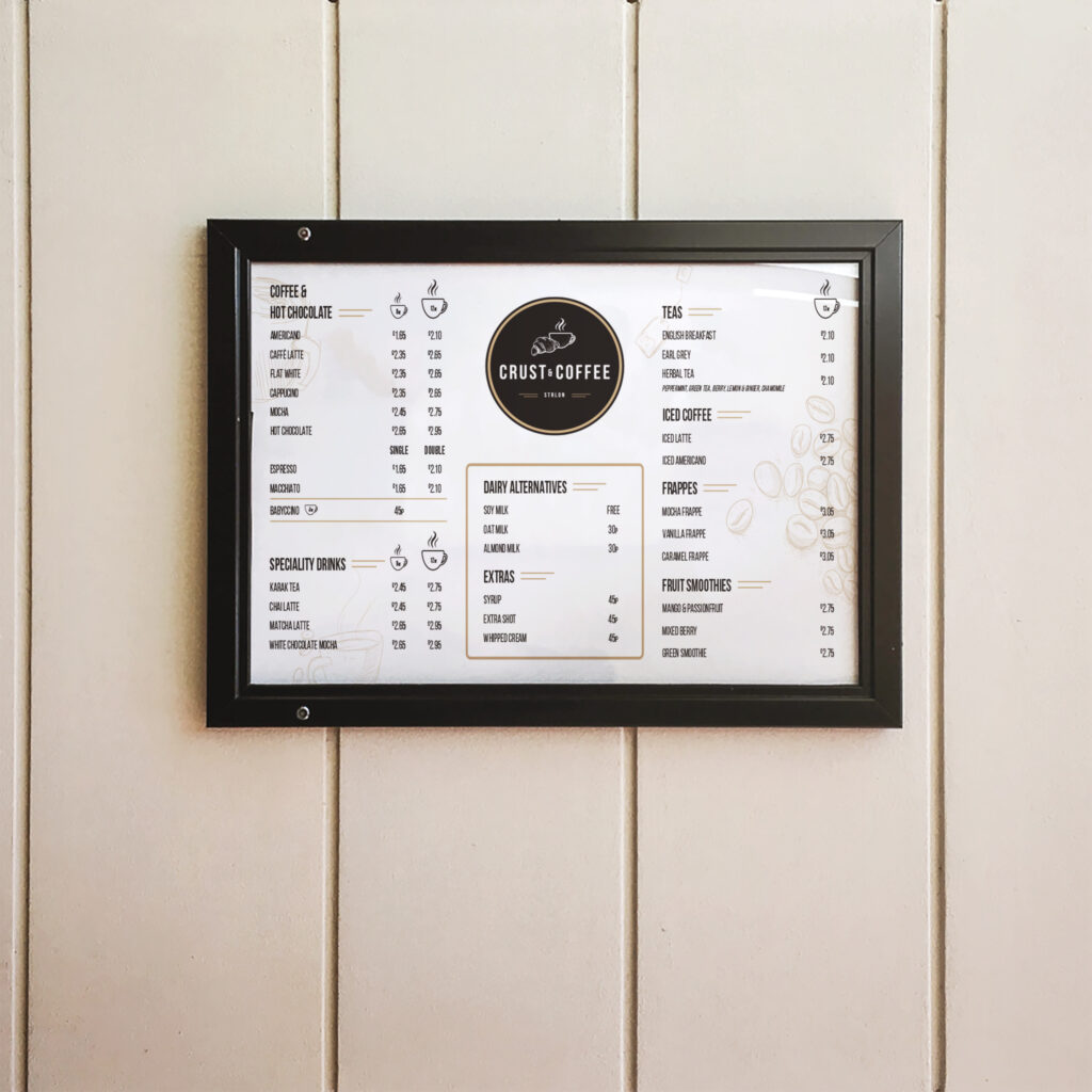 crust & coffee menu